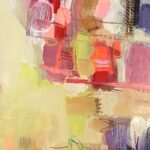 abstract painting, warm colors, hot pink