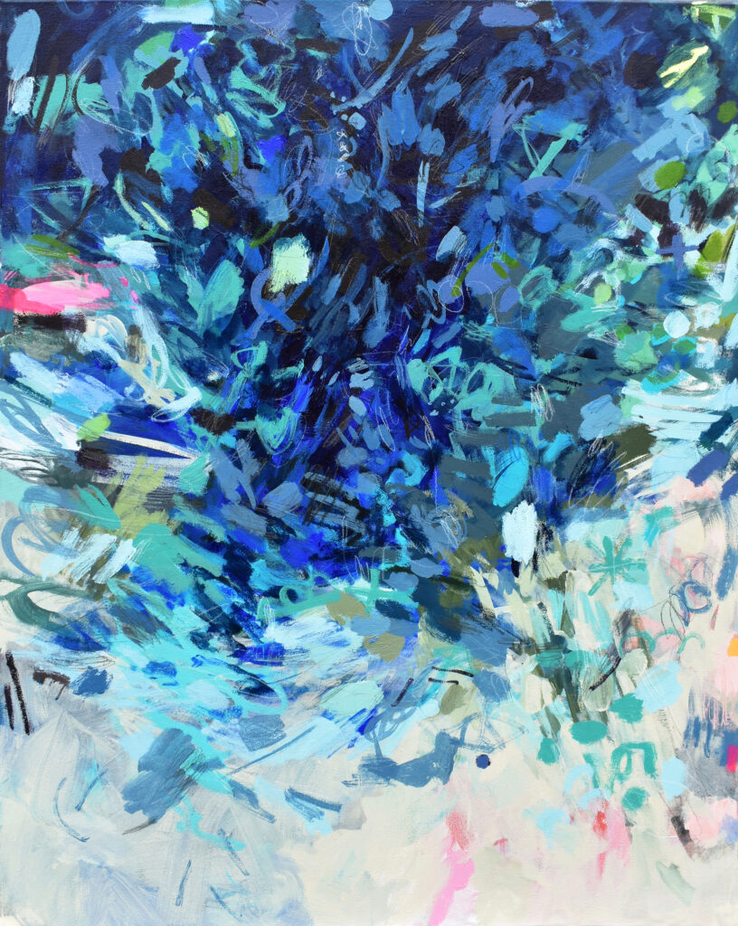 Bright blue gestural abstract painting