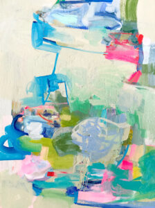 """""""Unearthing Delights"""", 2021, 18"""" x 24"""", acrylic on canvas, available at the Annie Gould Gallery"""
